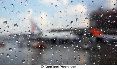 Raindrops on the Airport Window. HD. 1920x1080