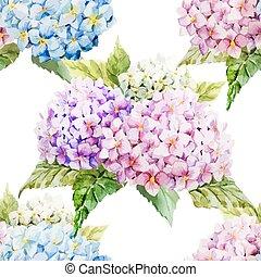 Hydrangea pattern - Beautiful watercolor vector hydrangea...