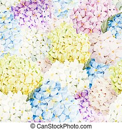 Hydrangea pattern - Beautiful watercolor vector hydrangea...