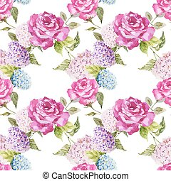 Hydrangea and roses - Beautiful watercolor vector pattern...