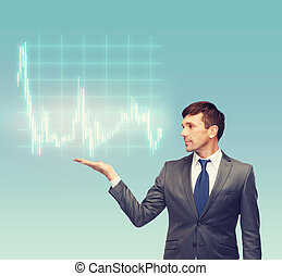 buisnessman or teacher showing forex chart