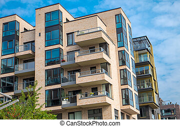 Apartment buildings in Hamburg - Modern apartment buildings...