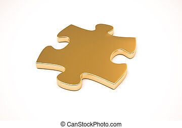 gold puzzle bonded together, isolated on white background,...