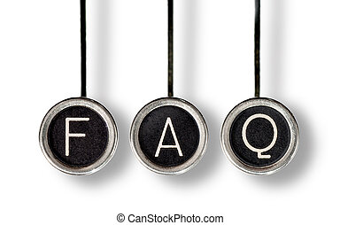 Retro FAQ - Three old, scratched chrome typewriter keys with...