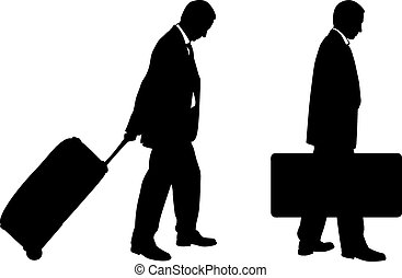 luggage - silhouettes of men with luggage