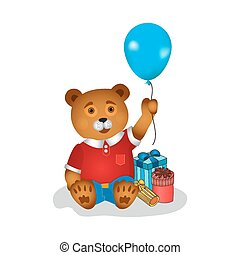 Happy birthday greeting card with bear