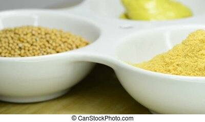 Mustard powder and seeds - Mustard, seeds, powder and ready...