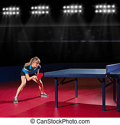 Girl table tennis player at sports hall - Young girl table...