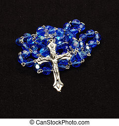 Blue glass rosary with silver cross - Christianity...
