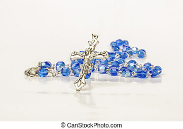 Blue beads rosary with silver cross - Christianity...