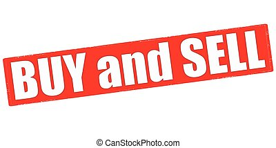 Buy and sell - Stamp with text buy and sell inside, vector...