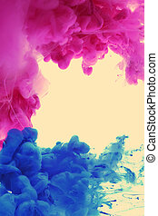 Acrylic colors in water Abstract background