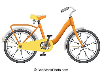 Realistic orange childrens bike for boys