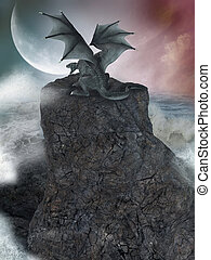 Fantasy landscape - fantasy landscape with cliff and dragon...