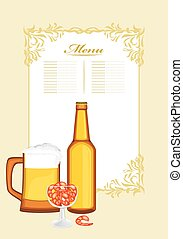 Beer with shrimps Menu template Vector illustration