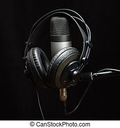Headphones and condenser microphone - Stereo music and audio...