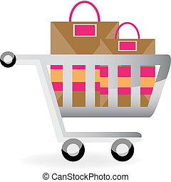 shopping cart isolated on a white background.
