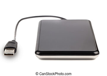 External hard disk - Black external hard disk isolated on...