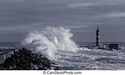 Blue storm - Sea storm at winter sunset. North of Portugal....