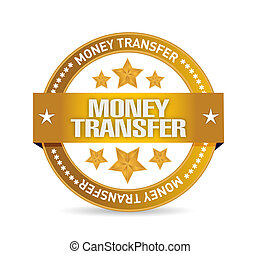 money transfer seal illustration design over a white...
