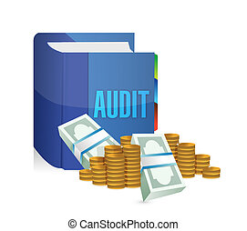 audit book and money illustration design over a white...