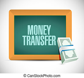 money transfer board sign illustration design over a white...