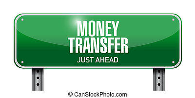 money transfer road sign illustration design over a white...