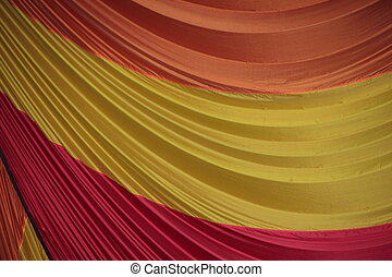 Segment of Folded Parachute Fabric in Three Colors