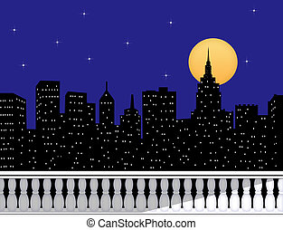 City Skyline At Night From a Rooftop Terrace - Silhouette of...
