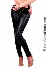 Long legs in skinny leather pants and high heel
