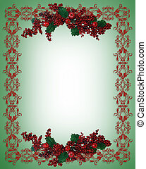 Christmas Holiday Border holly berries - Image and...