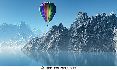 3D landscape with hot air balloon and mountains - 3D render...