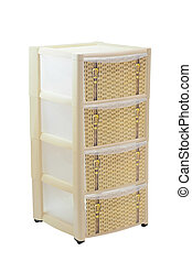plastic chest of drawers under the white background