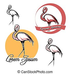 Flamingo set - Flamingo logo and icon set isolated on white...