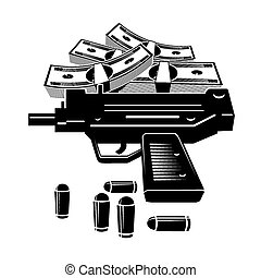 Gun and money - Illustration of uzi gun and lot of money....