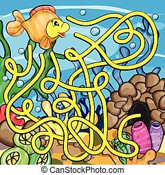Maze game for kids - Help the little fish to get home