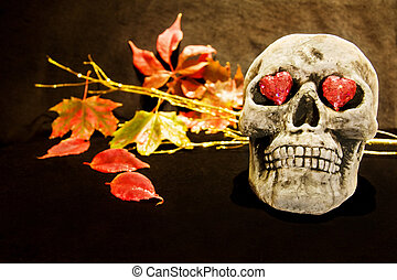 Halloween love with scary skull - Celebrating Halloween...