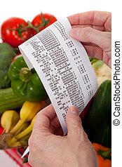 tienda de comestibles, recibo, encima, bolsa, vegetales