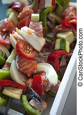 Skewers - Tomato, pepper, onion and salmon on skewers