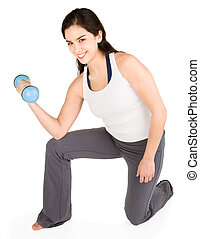 Young Woman Lifting Weights - A youg lady is lifting...