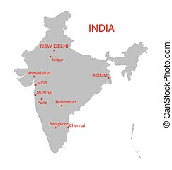 grey map of India with indication of largest cities