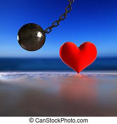 Heart and steel pendulum. - 3d rendering steel pendulum...