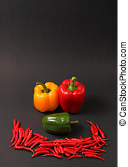 red chillis and paprikas