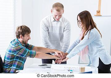 equipo, motivación, en, el, oficina,