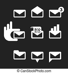 envelope icon - set of 9 icons envelope. Email. vector...