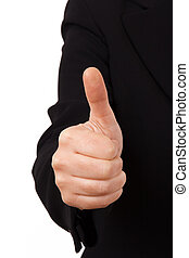 Business Woman Thumb Up - Business woman in dark suit with...