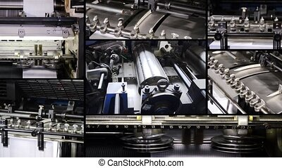 Printing collage, details - Industry, printing machinery,...