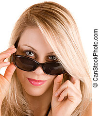 Beautiful Blonde Lady Looking Over Sunglasses - Close-up of...