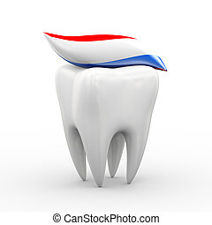 3d tooth and toothpaste