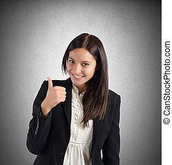 Positive and smiling businesswoman for her work